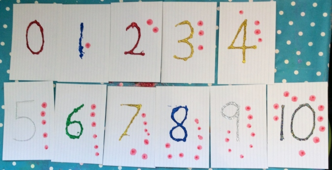 Completed Glitter Number Cards